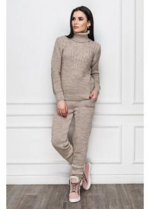 Костюм зимний вязаный, теплый вязаный женский костюм, модный к...