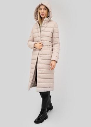 Куртка длинная стёганая на поясе бежевый пуховик зима притален...