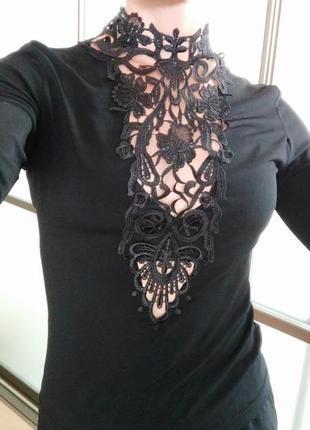 Шикарный топ блуза кофта водолазка с кружевом черный гольф бод...