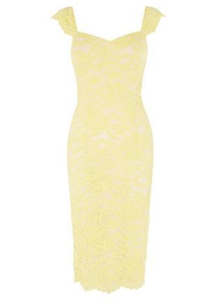 Лимонное миди  кружевное платье coast