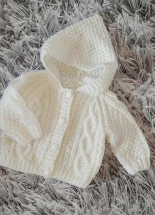 Красивая кофта вязаная на новорожденного, детская кофта с капю...