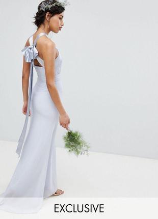 Ликвидация товара 🔥  роскошное вечернее платье с бантом голубое