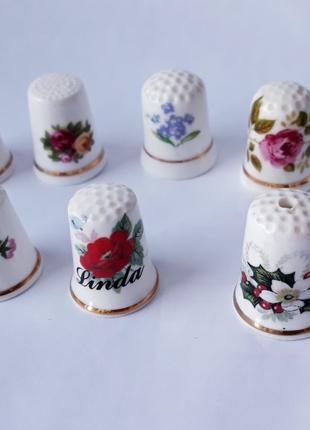 Наперстки цветы фарфор Англия коллекция наперсток
