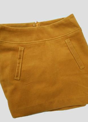 Теплая горчичная юбка