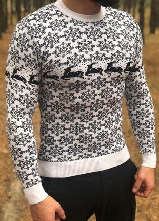 Новогодний  ❄ мужской свитер с оленями