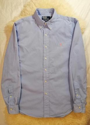 Рубашка polo ralph lauren с длинным рукавом светлого синего цв...