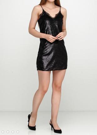 Коллекция gold. платье сарафан h&m в пайетки, с кружевом.