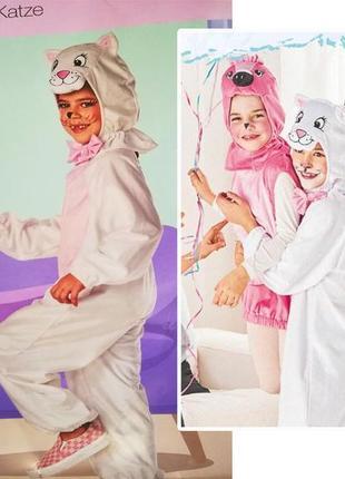 Карнавальный костюм, плюшевый белый кот, кошка, 98-110 lidl, г...