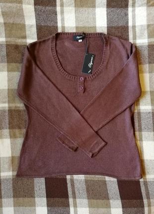 Базовый коричневый свитерок джемпер elegance