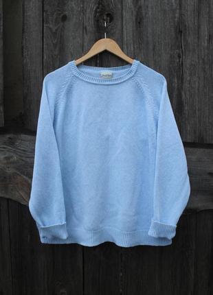 Свободный модный свитер нежно-голубого цвета