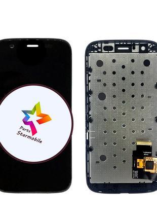Дисплей Motorola XT1036 Moto G с сенсором и рамкой, черный