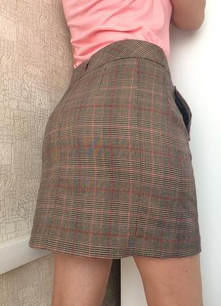 Короткая принтованная юбка с карманами/мини-юбка в гусиную лапку