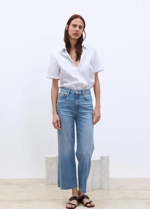 Крутые прямые широкие джинсы/кюлоты на высокой посадке с необр...