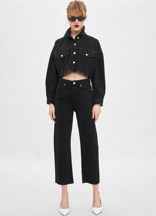 Актуальные чёрные прямые джинсы на болтах на высокой посадке с...