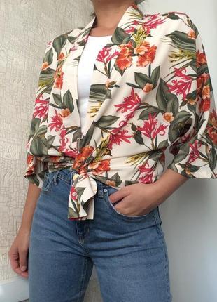 Летний кардиган/накидка/кимоно в тропический принт