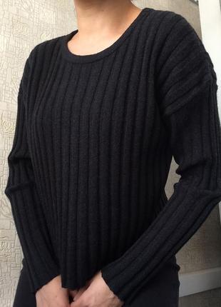 Укороченный серый шерстяной свитер/джемпер из шерсти мериноса/...