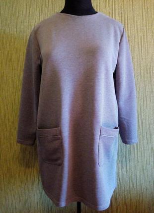 Тёплое трикотажное платье на  54/58 размер