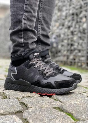 Зимние мужские кроссовки адидас, black, с мехом.