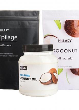 Набор Hillary рафинированное кокосовое масло 500мл, Epilage Or...