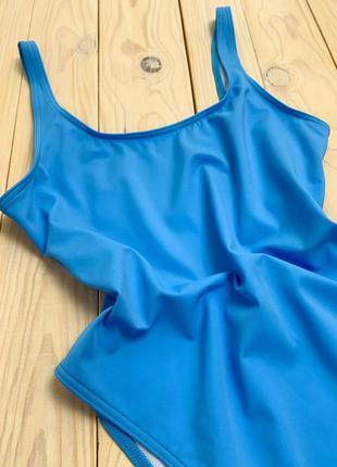 Качественный голубой слитный купальник с открытой спинкой asos