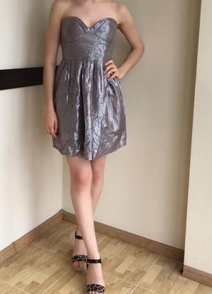Серебристое платье бюстье bershka