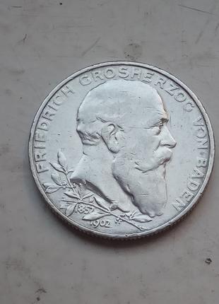 Германия . Баден 2 марки 1902 50-летие правления Фридриха I Ориги