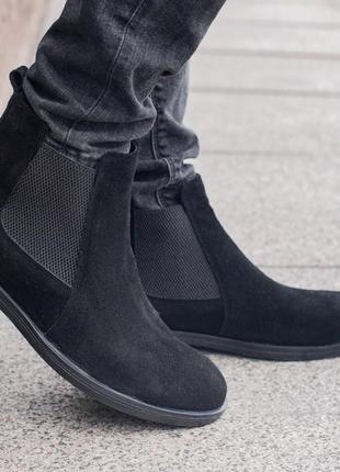 Мужские зимние челси zara man, чёрные ботинки зара с мехом
