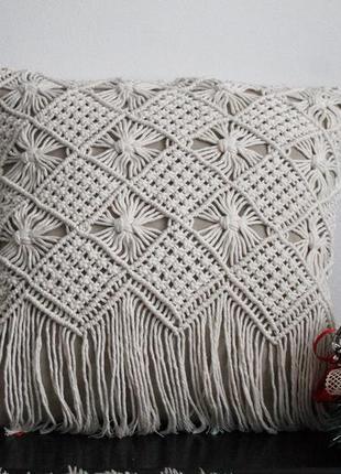 Декор для дому, наволочка, макраме подушка,декоративна подушка