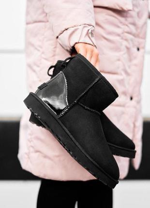 Ugg classic mini black metallic! женские замшевые зимние угги/...
