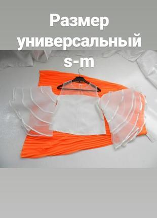 ✅ шикарная блуза топ с пышными прозрачными рукавами воланами р...