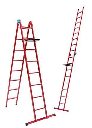 Лестница универсальная металлическая 6 ступеней со столиком, h...