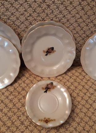 Набор тарелок фарфор коростень птицы