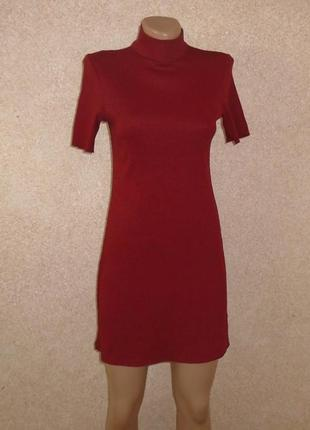 Платье-гольф в рубчик мини/платье-резинка/платье-свитер/сукня-...