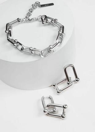 Серебро трендовый комплект браслет серьги серебро 925 покрытие