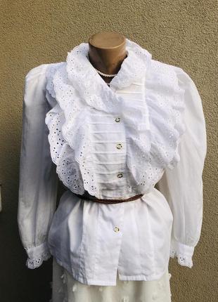 Винтаж,блуза с жабо,рубаха,кружево,шитьё,этно,бохо стиль,хлопок,