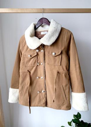 Куртка с мехом коричневая