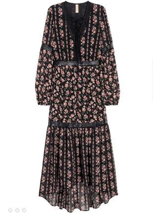 Красивое шифоновое платье h&m с кружевными вставками
