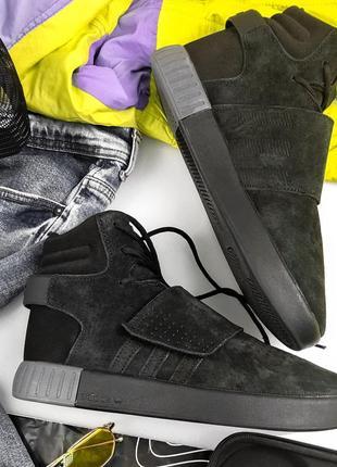Adidas tubular invander black fur зимние мужские кроссовки с м...