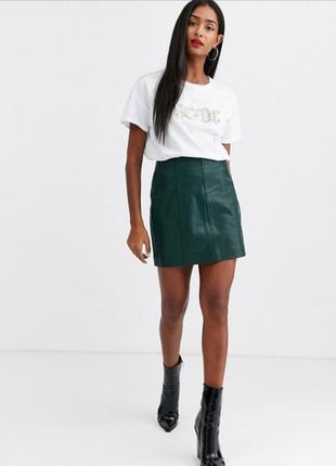 Зеленая юбка из искусственной кожи