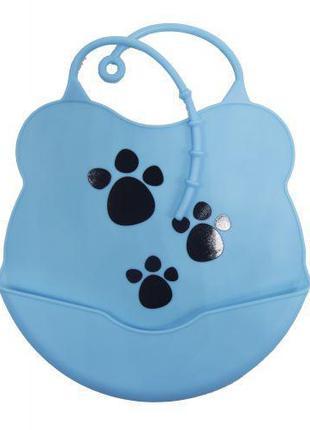 Слюнявчик силиконовый с карманом (голубой) Ф 933
