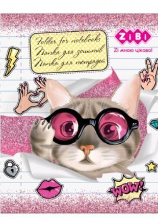 Папка для тетрадей В5 + Zibi 14983 CUTE CAT картонная на резин...