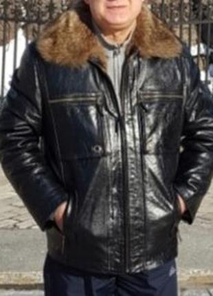 Кожаная куртка на меху мужская
