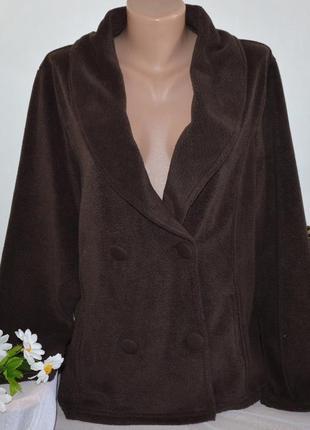 Брендовая коричневая флисовая кофта на пуговицах с карманами p...