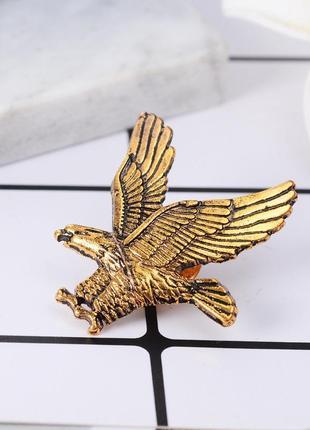 Брошь на одежду летящий орел, значок птица золото