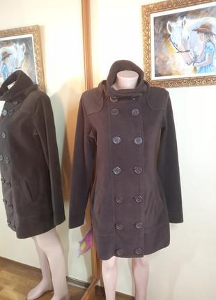 Стильное полу-пальто или полу-кофта флис для теплой осени