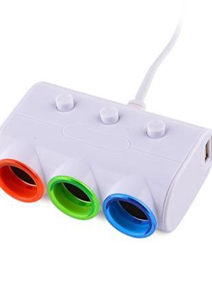 Разветвитель прикуривателя (3 гнезда + 2 х USB) OLESSON 1523