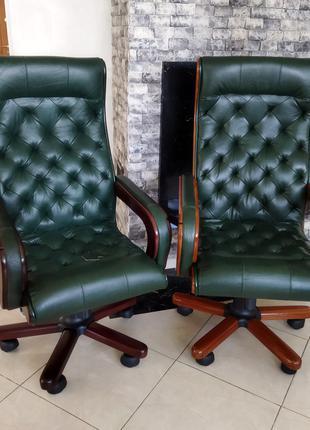 Кресло кожаное новое руководителя, кабинетное, честер, управляюще