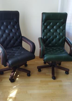 Новое кожаное кресло для руководителя, кабинетное, честер, крісло