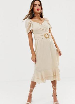 Нежное бежевое платье asos длинны миди из шифона
