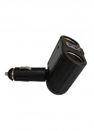 Разветвитель для прикуривателя на 2 гнезда +USB 12V-24V ART:1646